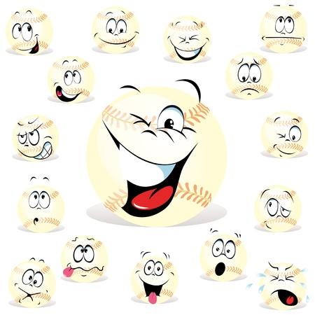 miedoso: expresiones de b�isbol de dibujos animados ingenio muchos Vectores
