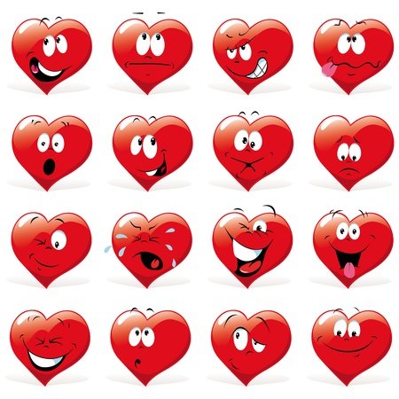 spirited: cartoon hearts with many expressions Illustration