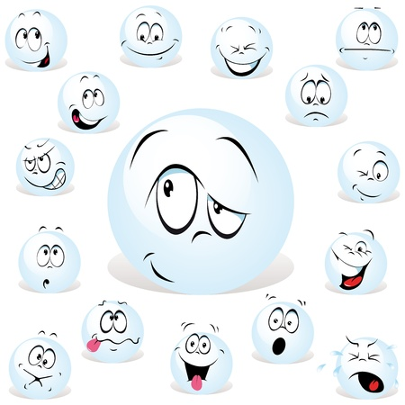 pong ball cartoon wit many expressions Illustration