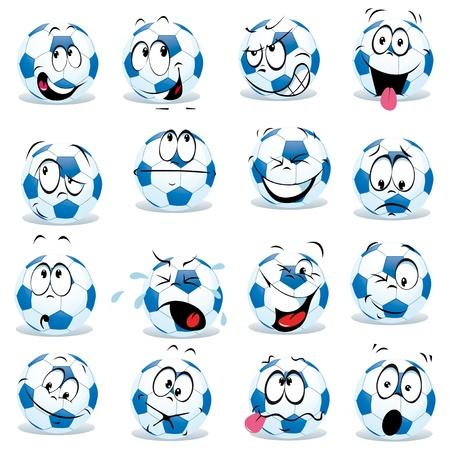 ballon foot: dessin animé ballon de football avec de nombreuses expressions Illustration