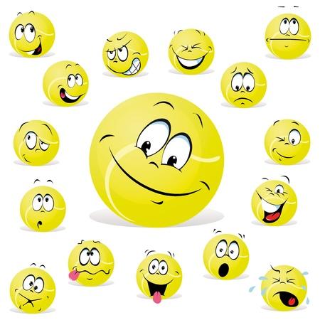 cara sonriente: pelota de tenis Vectores