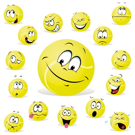 happy face: tennis ball Illustration