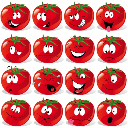 spirited: cartoon tomato with many expressions Illustration