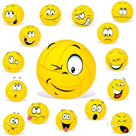 volleybal cartoon humor vele uitdrukkingen Vector Illustratie