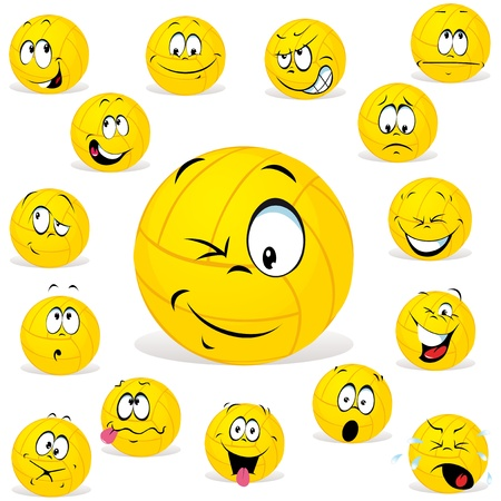 volleyball cartoon wit many expressions Stock Vector - 15017286
