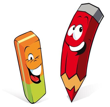 escuela caricatura: lápiz con goma de borrar Vectores