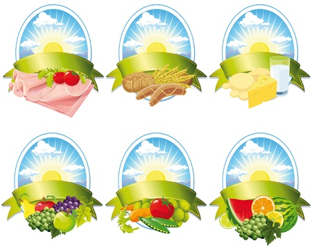 collection of food - meat, milk, fruit, cereal and vegetables labels Vector