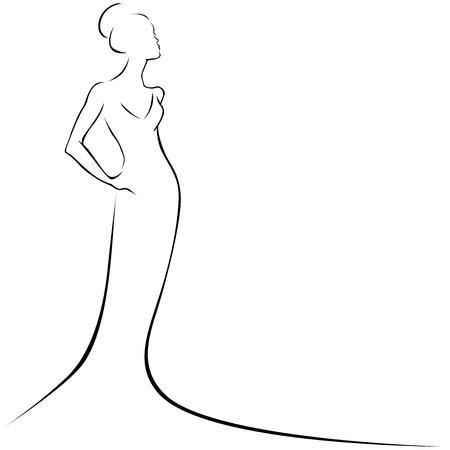 neatness: black line woman Illustration