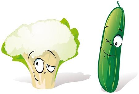 pepino caricatura: pepino y coliflor Vectores