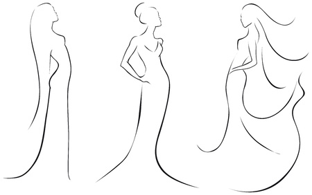 sexy woman silhouette: fashion in black lines