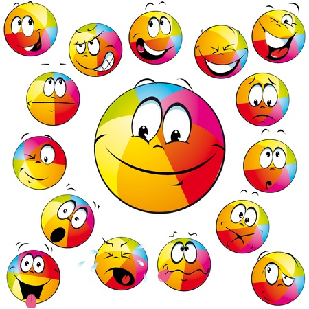 throw up: happy beach ball with many expressions