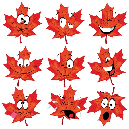 autumn leaf: red maple leaf mascot with many expressions Illustration