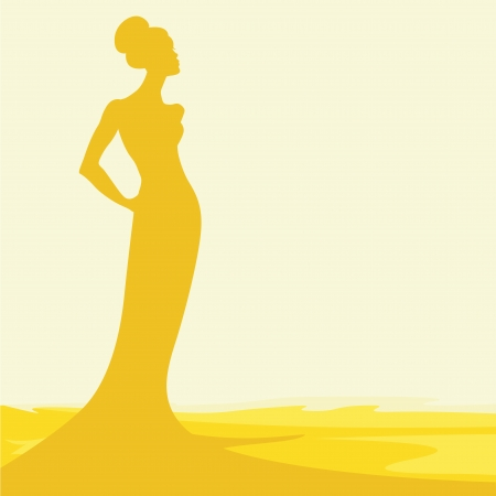 silhouette of woman in hot sand Vector