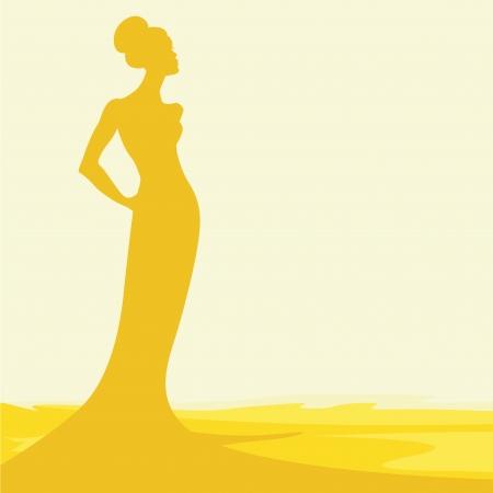 high fashion model: silueta de la mujer en la arena caliente Vectores