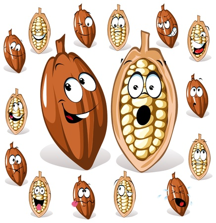 cocoa bean: cocoa bean with many expressions  Illustration