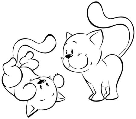 cats playing: playing kitten sketch