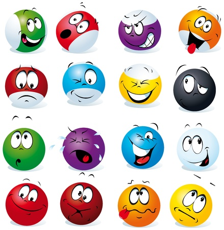 object with face: billiard balls with many expressions