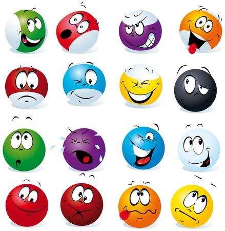 cheerful cartoon: bolas de billar con muchas expresiones Vectores