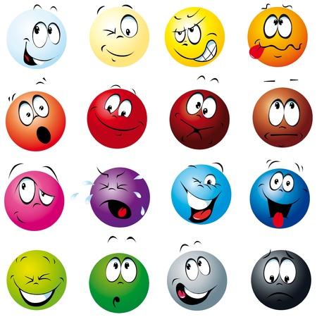 carita feliz caricatura: bolas de colores con muchas expresiones