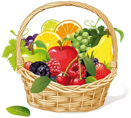 canastas con frutas: cesta de frutas Vectores