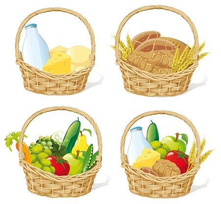 canasta de frutas: cestas con leche, queso, cereales, frutas y verduras