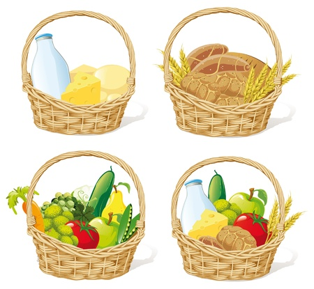 baskets with milk, cheese, cereals, fruits and vegetables