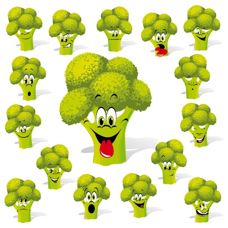 broccoli with many expressions Vector