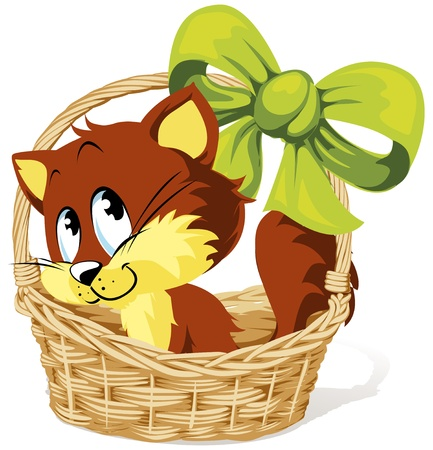 kitty in basket with ribbon
