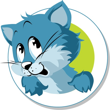 blue cat looking from an oval frame Vector