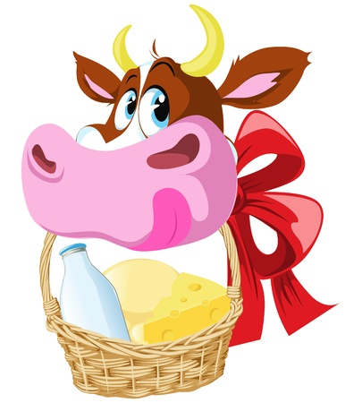 gouda: ow holding basket wit cheese and milk Illustration