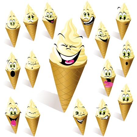 crazy cute: ice cream with many expressions Illustration