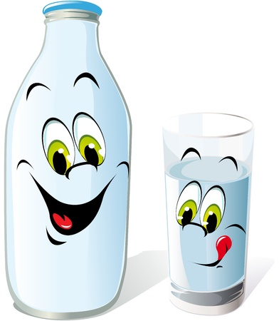 dairy product: milk bottle and glass cartoon