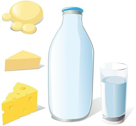 leche y derivados: botella de leche, vidrio y quesos