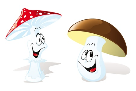 mushrooms isolated on white background Vector