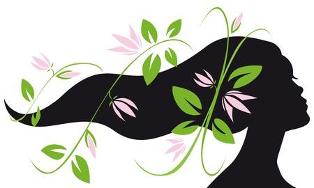 Stylist: mujer perfil silueta con el pelo largo y las flores que fluyen Vectores