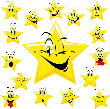 five stars: stars with many expressions Illustration