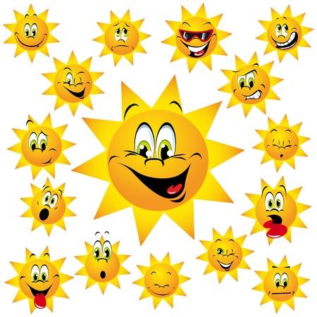 sol caricatura: tomar el sol con muchas expresiones