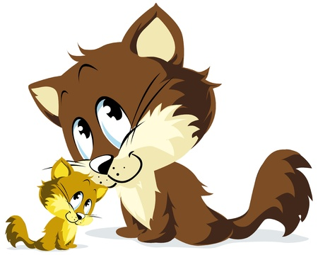 grande e piccolo: gatto e si stringono gattino Vettoriali