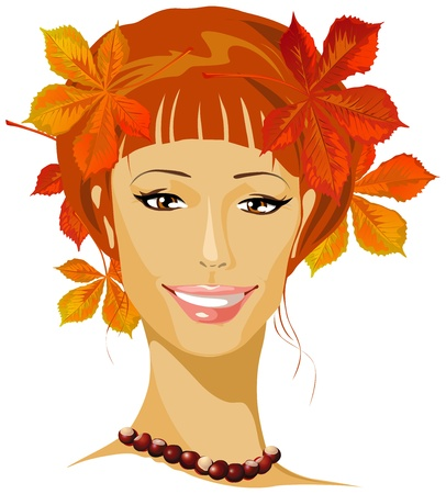 red haired girl: autumn beautiful woman portrait