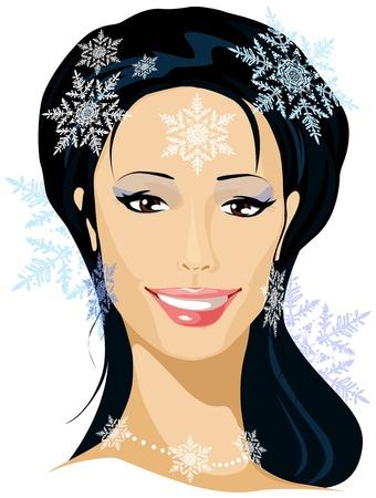 black hair blue eyes: winter beautiful woman portrait