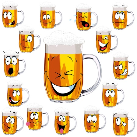 Mug fresh beer cartoon Vector