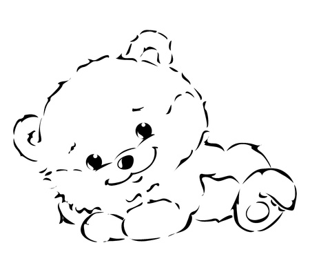 stuffed animals: Black Outline Illustration of cute Bear