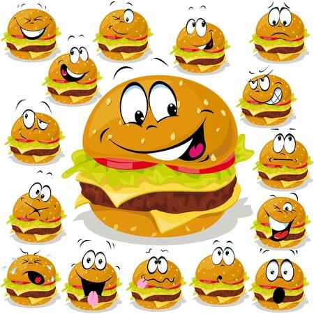 hamburguesa ilustración de dibujos animados con muchas expresiones