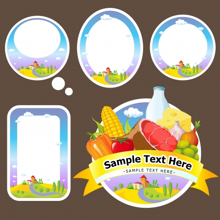 stickers and labels with landscape, farmland vegetable Stock Vector - 15239304