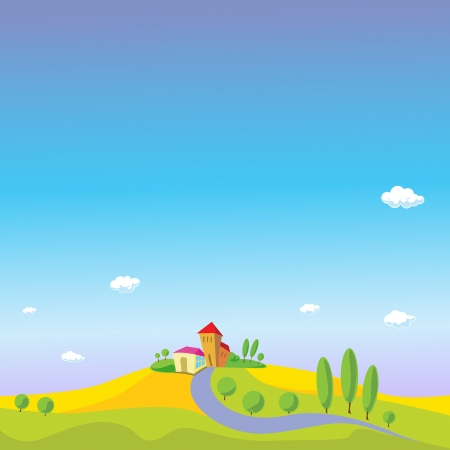 summer landscape with blue sky Vector