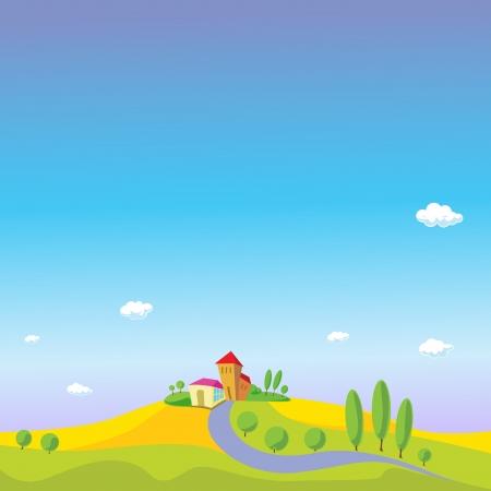 golden field: summer landscape with blue sky