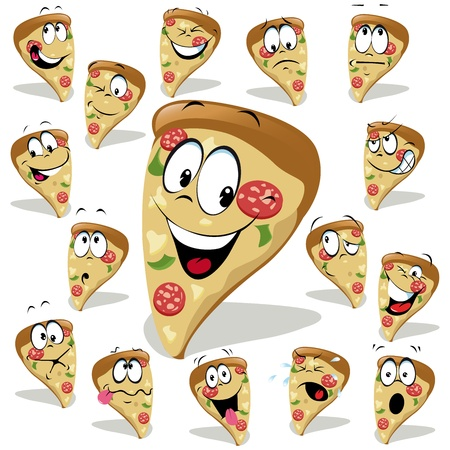 pizza crust: pizza cartoon illustration with many expressions