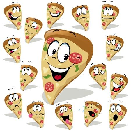pizza de ilustración de dibujos animados con muchas expresiones