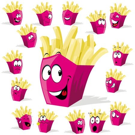 french fries cartoon illustration with many expressions Illustration