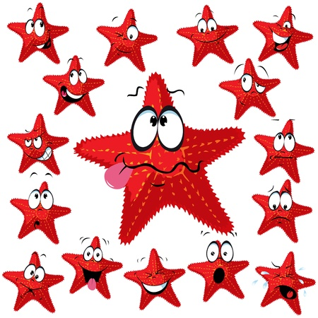 Red sea star cartoon with many expressions